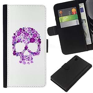 All Phone Most Case / Oferta Especial Cáscara Funda de cuero Monedero Cubierta de proteccion Caso / Wallet Case for Sony Xperia Z1 L39 // Floral Purple Skull White Pink Spring