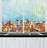 Ambesonne Watercolor Flower Home Decor Kitchen Curtains, Several Kind of Flower Bed in Sun Summer Aquarelle Technique Design, Window Drapes 2 Panels Set for Kitchen Cafe, 55 W X 39 L Inches, Multi