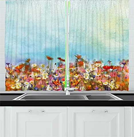 Watercolor Flower Home Decor Kitchen Curtains by Ambesonne, Several Kind of Flower Bed in Sun Summer Aquarelle Technique Design, Window Drapes 2 Panels Set for Kitchen Cafe, 55 W X 39 L Inches, Multi