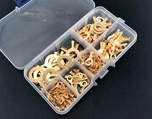 150 Pieces Ring Cable Lugs Ring Eyes Brass Crimp Cable Connector Wire Terminals Assortment M3 M4 M5 M6 M8 M10