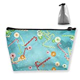 Trapezoid Toiletry Pouch Portable Travel Bag Christmas Candy Canes Zipper Wallet