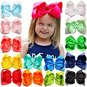 15PCS 8Inch Grosgrain Ribbon Bows Alligator Hair Clips Girls Large Big Hair Bows Clips Hair Accessories for Teens Kids Toddlers