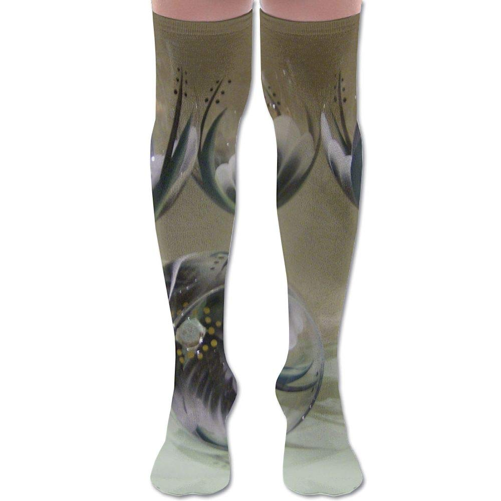 Glass Art High Knee Socks For Boots Long Dress Compression Polyester Sox Leg Tube Ideal