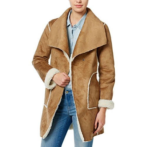 Wild Flower Womens Faux Suede Reversible Basic Coat Tan (Tan Suede Coat)