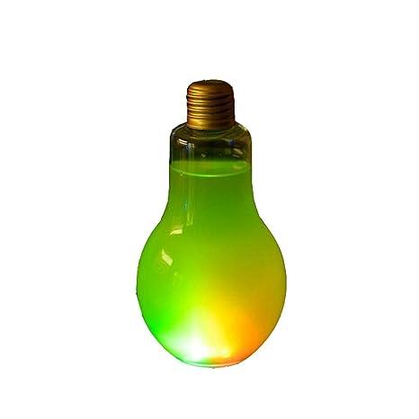 10 piezas botellas de jugo de forma de bombilla transparente desechable con luz (400 ml