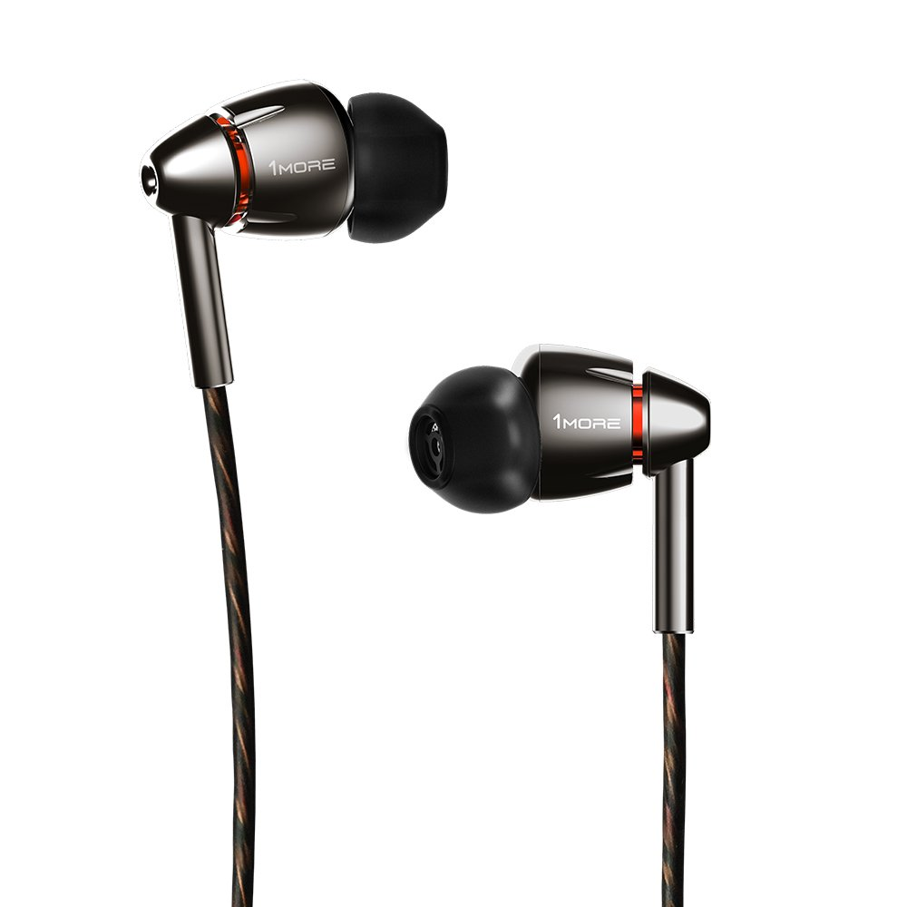 1MORE Quad Driver In Ear Headphones (Earphones, Earbuds) with Microphone (Titanium) by 1MORE