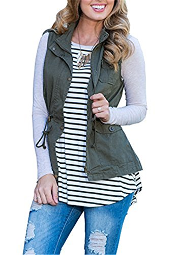 U-WARDROB Sleeveless Military Lightweight Warm Vest Jacket With Pocket for Women ArmyGreen XL by U-WARDROB