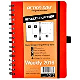 Action Day Weekly Planner 2016 - Size 6x8 - Color Orange - Layout Designed to Get Things Done - (Personal Organizer (+) Daily Calendar (+) Day Planner (+) Weekly Diary (+) Monthly Planner (+) Goals Journal (+) Datebook (+) Appointment Book)