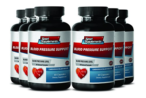 High Blood Pressure Supplement - Premium Blood Pressure Support - Dietary Supplement (6 Bottles 360 Capsules) by Sport Supplements
