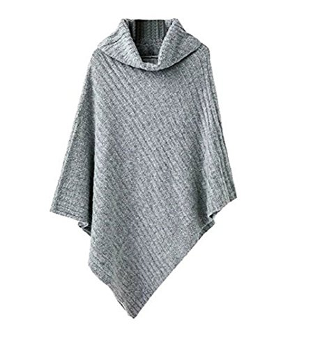 Women's Chic Turtleneck Soft Casual Knitted Poncho Pullovers Sweater (Gray) (Poncho Turtleneck)