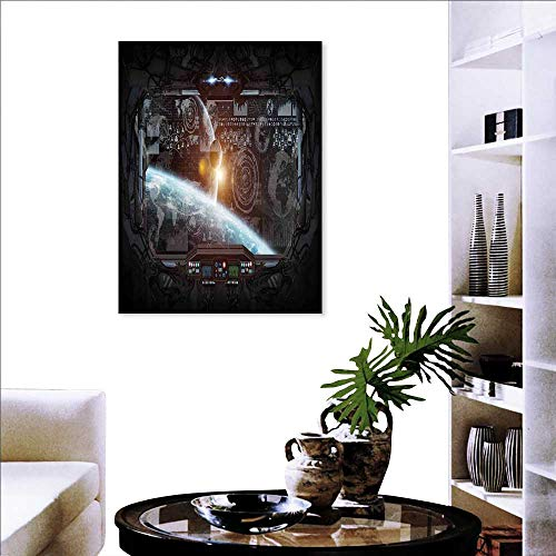 (Outer Space Decor Modern Canvas Painting Wall Art Control Panel of Cockpit Screen in Spaceflight Androids World Stardust Triple Art Stickers 16