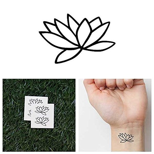 Tattify Minimal Lotus Flower Temporary Tattoo - Fully Lotus (Complete Set of 4 - 2 of each Style) - Other Styles Available and Fashionable Temporary Tattoos