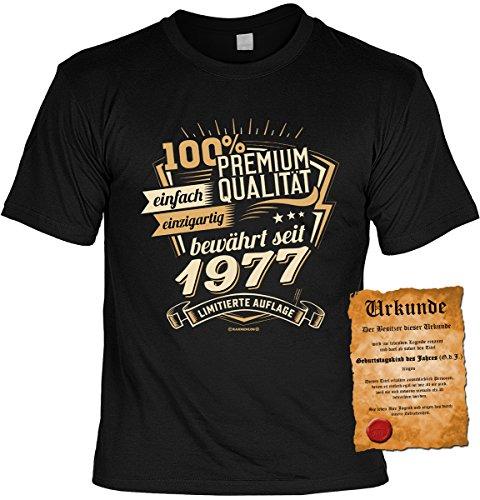 T-Shirt mit Urkunde - Premium Qualität bewährt seit 1977 - Geschenk Set mit lustigem Spruch als ideales Geburtstagsgeschenk