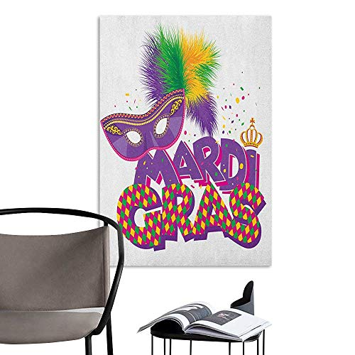 3D Murals Stickers Wall Decals Mardi Gras Traditional Holiday Theme Colorful Fluffy Feathers Mask Crown Symbol Purple Hot Pink Green Rental House Wall W20 x H28]()