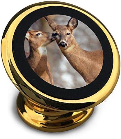 鹿 携帯電話ホルダー おしゃれ 車載ホルダー 人気 磁気ホルダー 大きな吸引力 サポートフレーム 落下防止 360度回転