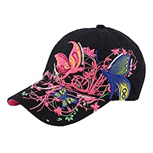 Butterfly and Flower Han Style Hat Lady's Sun Hat Baseball Cap Black