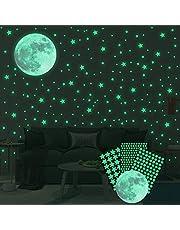 Ahsado Muursticker, zelfklevend, lichtgevende stickers, 334 stuks, lichtgevende sterren, lichtpunten, maan voor je sterrenhemel en fluorescerende lichtgevende stickers voor kinderkamer