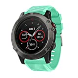 CSSD Fashion Replacement Silicone Soft Quick Release Kit Bands Straps for Garmin Fenix 5X (Mint Green)