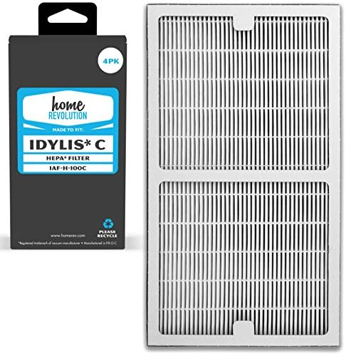 Home Revolution 4 Replacement HEPA Filters, Fits Idylis IAP-10-200 and IAP-10-280 Air Purifiers and Type C Parts 0412555 and IAF-H-100C