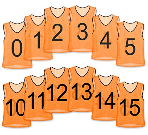 (Unlimited Potential Nylon Mesh Numbered Scrimmage Team Practice Vests Pinnies Jerseys for Children Youth Sports Basketball, Soccer, Football, Volleyball (Orange Numbered, Youth))