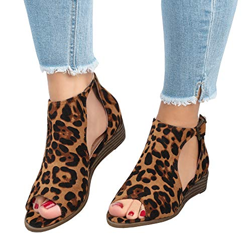 Brown Leopard Peep Toe - FISACE Womens Leopard Open Peep Toe Side Cut Out Low Wedge Sandal Ankle Buckle Suede Ankle Bootie Shoes