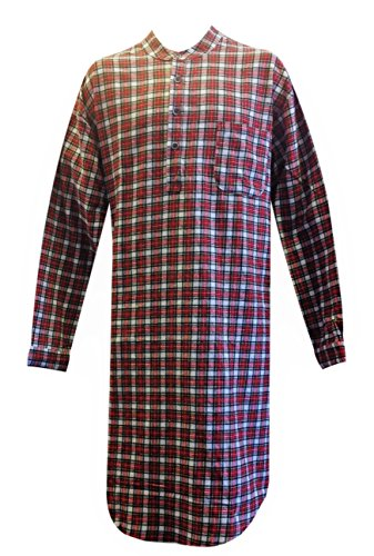 Lee Valley Genuine Irish Flannel Nightshirt, Men's (Large, Red/White Check) -