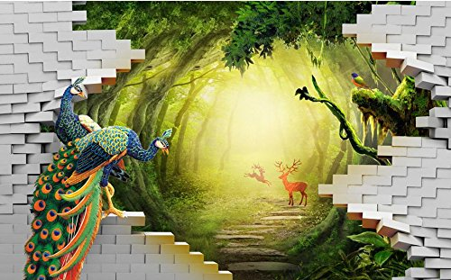 LWCX Luxury Wallpaper Custom 3D Mural Wallpaper Secret Garden Peacock Deer Tv Backdrop Wall Murals For Living Room 250X175CM by LWCX (Image #1)