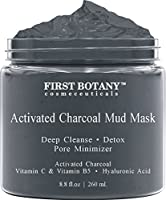 Activated Charcoal Mud Mask 8.8 fl oz. - For Deep Cleansing & Exfoliation, Pore Minimizer & Reduces Wrinkles, Acne Scars, Blackhead Remover & Anti Cellulite Treatment, Face Mask & Facial Cleanser