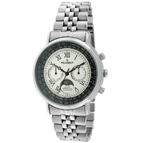 Elegance Stainless Steel Analog (Peugeot Women's 'Lunar Multi-function' Quartz Metal and Stainless Steel Dress Watch, Color:Silver-Toned (Model: 7090S))