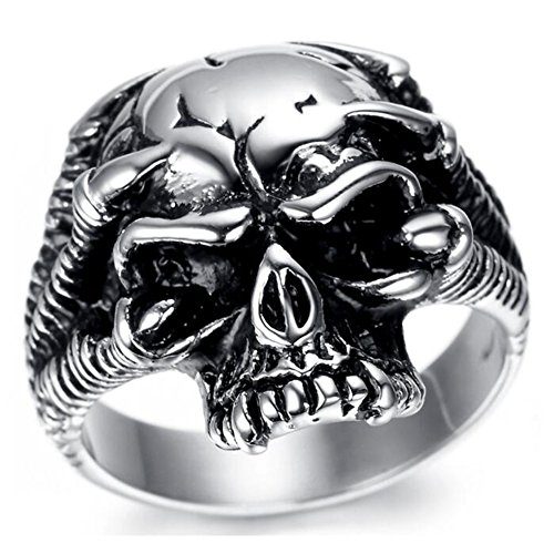 TEMEGO Jewelry Mens Stainless Steel Ring, Vintage Gothic Skull Dragon Claw Band, Black (Queen Mary Halloween Deaths)