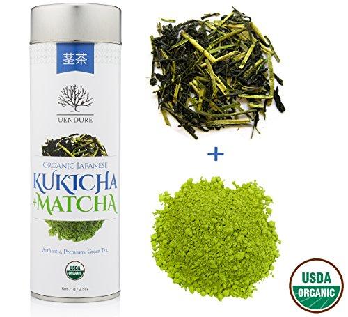 Organic Japanese Green Tea + Matcha - Premium Loose Leaf Kukicha Stem Tea - Hand Harvested - Whole Leaf Superfood - 2x Health Benefits Than Normal Tea - Non GMO and USDA Certified - 71 grams (Japanese Gyokuro Green Tea)