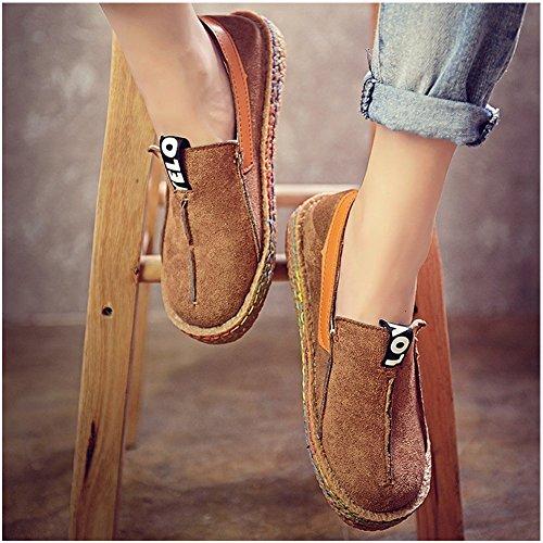 Penny Loafer Marrón para Casual Zapatos caminar Mujer Blivener Suede sin cordones p7Ftfq