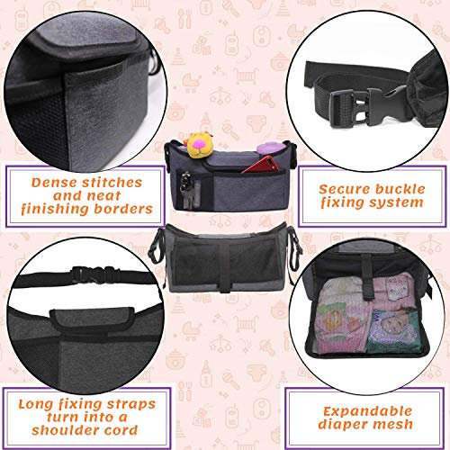Universal Stroller Organizer Diaper Bag - Cup Holder for Cool Parents (Grey Oxford, S)