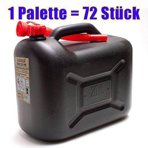 1 Palette mit 72x Benzinkanister 20 Liter schwarz KKS 20 PE (72 Stück Kraftstoffkanister 20L)