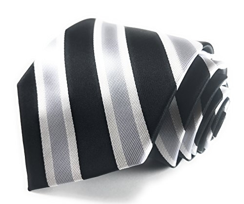 Black Silver Tie - Black, Silver and White Striped Woven Necktie