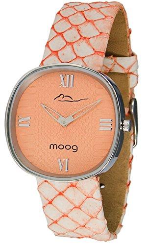 Moog Paris Chic Women's Watch with Orange Dial, Orange Strap in Genuine Snake Skin - M41121-002