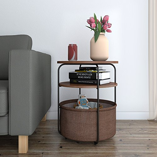 Lifewit 3-tier Round Medium Side Table End Table Nightstand with Storage Basket, Modern Collection Espresso, (Modern Round Side Table)