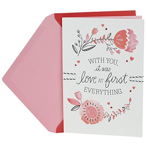 Hallmark Valentine's Day Greeting Card for Romantic Partner (Flowers Line Drawings)