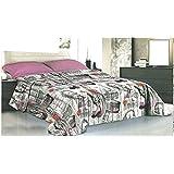 Sergio Tacchini - Alfiere - Couvre-lit léger de printemps, pour lit 1 personne, 170 x 270 cm, couleur gris -