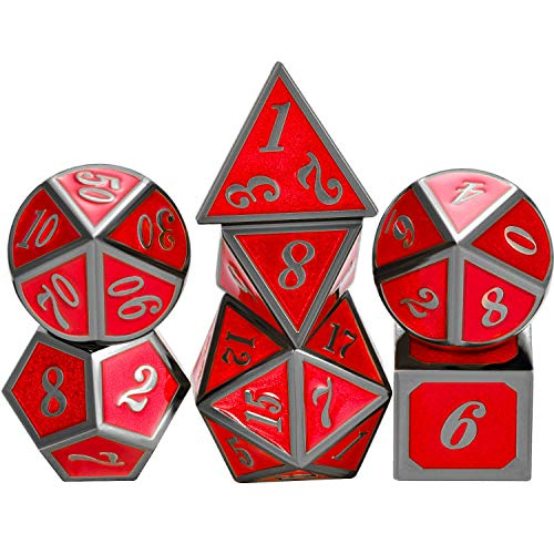 (TecUnite 7 Die Metal Polyhedral Dice Set DND Role Playing Game Dice Set with Storage Bag for RPG Dungeons and Dragons D&D Math Teaching (Shiny Black and Red))