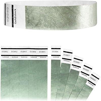 "Goldistock Original Series - 3/4"" Tyvek Wristbands Metallic Silver - Event Identification Bands (Paper - Like Texture)"