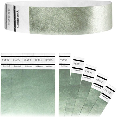 "Goldistock Original Series - 3/4"" Tyvek Wristbands Metallic Silver 1,000 Count Value Pack - Event Identification Bands (Paper - Like Texture)"