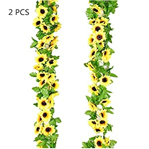 2 Pack 8.5 Feet Artificial Fake Sunflower Garland Foliage Simulation Silk Vine Flowers with Green Leaves Wedding Home Decor 31