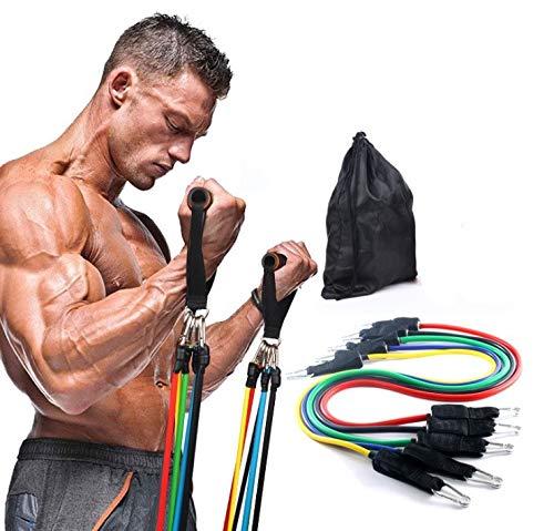 Langguth Resistance Bands 11 stuks fitnessbanden weerstandsbanden set krachttraining met handgrepen, deuranker, fitness…