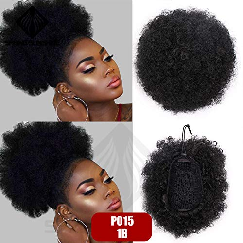 Hair Bun Kanekalon High Ponytail Puff Kinky Curly Drawstring Short Afro Pony Tail Clip In On Synthetic P015-1B