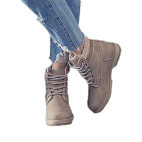 JiaMeng Botas, Empalme Moda Invierno Mujeres de Suela Gruesa Brock Botas sólidas con Cordones Botines Casuales Zapatos con Punta Redonda Botas de Nieve para ...