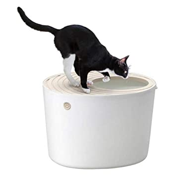 BYCWS Top Entry - Caja de Arena para Gatos con Cuchara, Inodoro semicerrado para Gatos: Amazon.es: Productos para mascotas