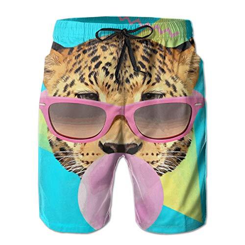 Pullan Eudora Mens Swim Trunks 90s Style Bubble Gum Leopard Quick Dry Beach Board Shorts with Mesh Lining White - Leopard Bubble Gum