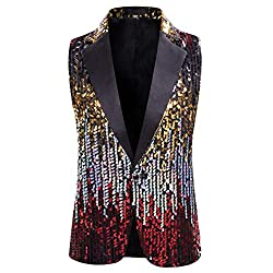 Men's Shiny Sequin Waistcoat