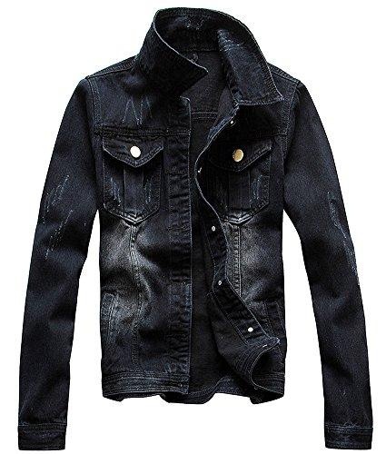 [Zicac  Men's Casual Denim Jacket Military Slim Fit Driver Button Coat(S(Asia Tag XL), Black)] (Mens Denim Jacket Coat)
